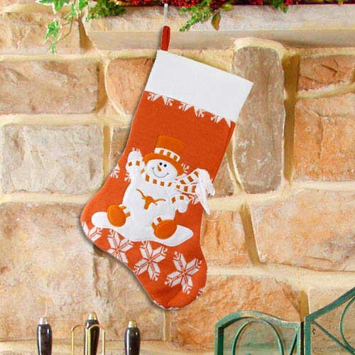 Ncaa Texas Longhorns Orange Snowman Knit Holiday Stocking