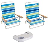 High Back Rio Beach Chair - 5 position LayFlat - Set of 2 Chairs Rio Colors SC: 2 Chairs - Stripe 306 with Side Tray