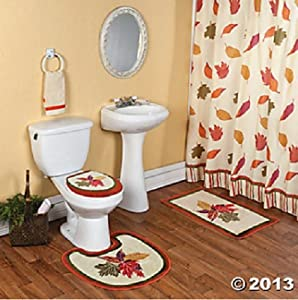Colorful fall leaves complete bathroom for Complete bathroom accessories sets