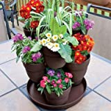 EMSCO 13 in. Resin 3-Tier Flower and Herb Vertical Gardening Planter in Brown