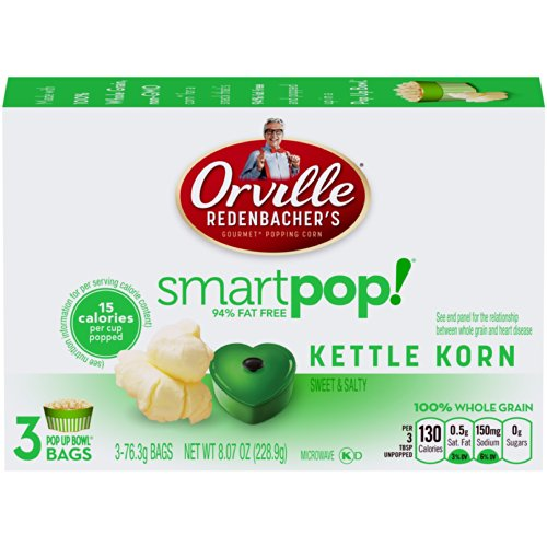 Orville Redenbacher's Microwave Smart Pop Popcorn in Pop Up Bowl, Kettle Korn, 3 Count (Pack of 12) (Orville Redenbacher Popcorn Salty compare prices)