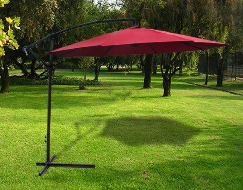 New Deluxe Burgundy 10' Offset Patio Umbrella Off Set Outdoor Market Umbrella