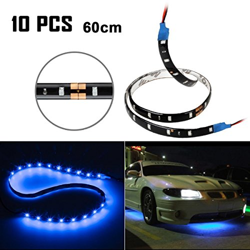 Partsam 10x Blue Motorcycle 30-LED Strip Flexible Self-Adhesive 12V SMD5050 60cm Universal