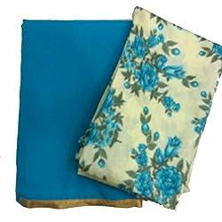 Navanya Couture Sky Blue Summer Chiffon Sarees With Gold Lace Border & Bhagalpuri Blouse