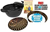 SEEN ON TV Minden Anytime Grill - BLACK For use w/ gas & electric stovetops WITH FREE DELUXE EPANDER RING AND FLEXIBLE GRILLING SKEVER by Minden Anytime Grill