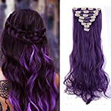 Clip in Hair Extensions Synthetic Full Head Hairpieces Japanese Kanekalon Fiber Thick Long Wavy Curly Soft Silky 8pcs 18clips for Women Fashion and Beauty 24'' / 24 inch (Purple Black)