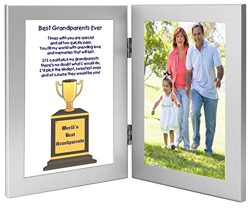 Grandparents Gift - World's Best Grandparents Trophy Graphic and Framed Poem - Add Photo