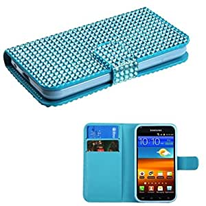 MyBat Diamonds Book- Wallet with Card Slot Case for Samsung D710/Epic 4G Touch/Galaxy S II 4G/R760 - Retail Packaging - Blue