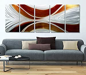 Silver and caramel wall art extra large for Dining room wall art amazon