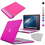 LOVE MY CASE / BUNDLE HOT PINK Hard Shell Case with matching KEYBOARD Skin and NEOPRENE Sleeve Cover for 13-inch Apple MacBook AIR [Will NOT fit MacBook Pro Models]