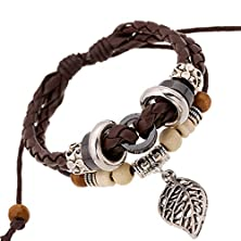 buy Time Pawnshop Metal Hollow Leaf Wood Beads Braided Multilayer Adjustable Leather Bracelet Wristband