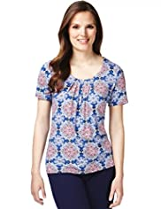 7 Pleat Kaleidoscope Print Top with Stay New™