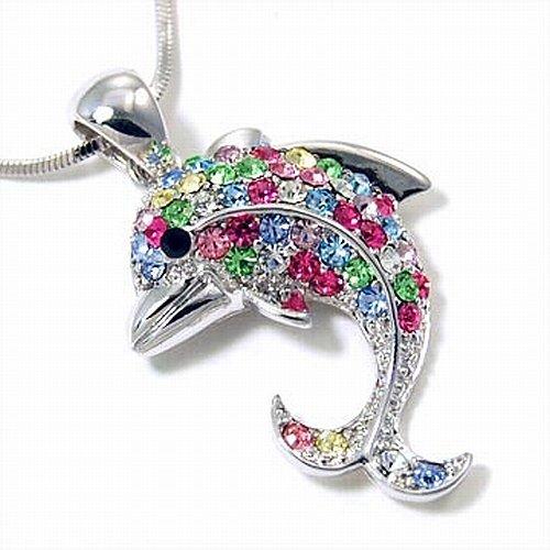 Small Multi Color Dolphin Pendant Fashion Necklace