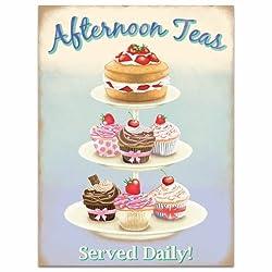 Afternoon Teas Tea Cake Stand Vintage Style Bakery Metal Sign 12 x 16