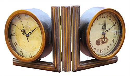 JustNile Antique-Style Table/Desk Clock - 5.5 Dual Clock Hinged Bookend