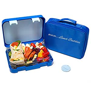 bento lunch box blue by mmm lunch buddies double leak proof container new dual. Black Bedroom Furniture Sets. Home Design Ideas