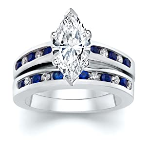 3.50 ct Marquise Diamond W Round Blue Sapphire Ring Set