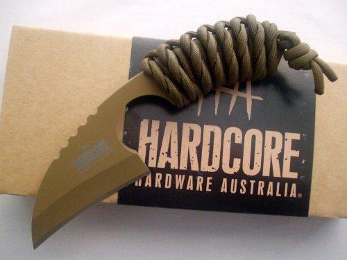 Hardcore Hardware Australia Lfk01-T Tactical Knife Tan Teflon Finish Coyote Para-Cord Handle Multicam Sheath