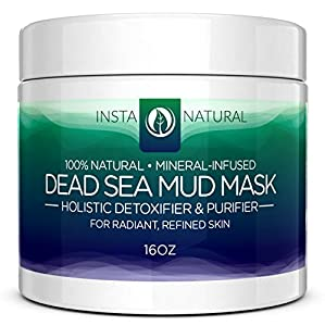 InstaNatural Dead Sea Mud Facial Mask - Skin Cleanser, Pore Reducer & Natural Moisturizer - Large 16 Oz Jar - 100% Natural Remedy that Helps Dry & Oily Skin, Acne, Blemishes Overall Complexion - Also Reduces the Appearance of Fine Lines & Wrinkles for Younger, Healthier Looking Skin - 16 oz