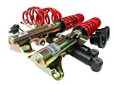 Supersport Black Evolution SU83PE01 Height Adjustable Coil Over Front and Rear Axel Kit for Peugeot 206 Hatchback Cabrio CC 162 etc. / 5 etc. Engines 40 - 130 KW Manufactured 08/98 / Front Wheel Drive