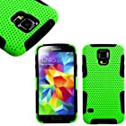 myLife Lime Green and Classic Black - Perforated Mesh Series (2 Layer Neo Hybrid) Slim Armor Case for the NEW Galaxy S5 (5G) Smartphone by Samsung (External Rubberized Hard Shell Mesh Piece + Internal Soft Silicone Flexible Gel)
