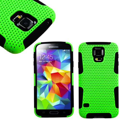 Mylife (Tm) Lime Green And Classic Black - Perforated Mesh Series (2 Layer Neo Hybrid) Slim Armor Case For The New Galaxy S5 (5G) Smartphone By Samsung (External Rubberized Hard Shell Mesh Piece + Internal Soft Silicone Flexible Gel + Lifetime Warranty +