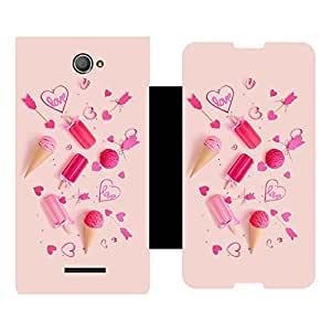 Skintice Designer Flip Cover with Vinyl wrap-around for Sony Xperia E4, Design - Love Quirky