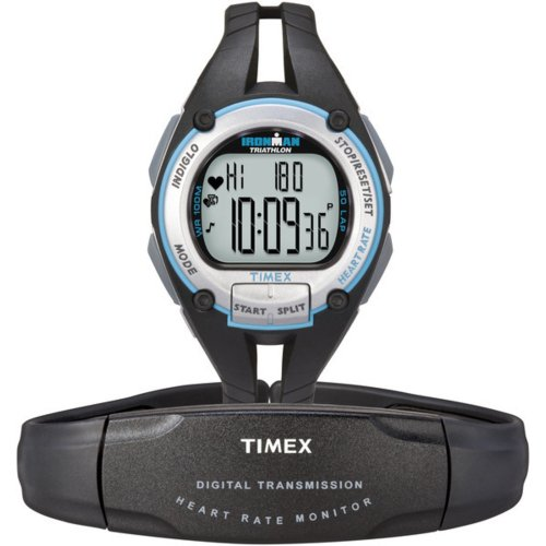 Timex Ironman Road Trainer Heart Rate Monitor Watch, Black/Silver/Blue, Mid Size