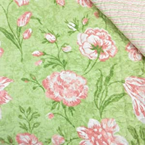 Laura Ashley Cadence Green and Pink Floral Reversible Quilt with Two