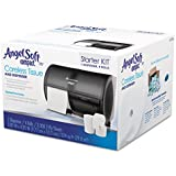 """Georgia-Pacific Compact 5679500 Translucent Smoke Compact Bathroom Tissue Dispenser and Angel Soft ps Starter Kit, 10-1/8"""" Width x 7-1/8"""" Height x 6-3/4"""" Depth"""