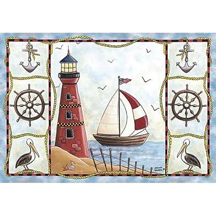 Nautical Apron nautical print beach print 100 percent Cotton seaside print Handmade beach seaside motif