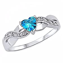 buy Paki: Heart-Cut Simulated Swiss-Blue Topaz And Iof Cz Infinity Promise Ring Silver, 3223A Sz 5.0