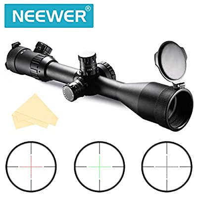 Neewer® 10X50SFIR Objective Waterproof Fogproof Shockproof Diameter 50mm Magnification 10X AR Optics FFP Illuminated Varmint Target Dot Riflescope with Target Turrets and Throw Down PC V5011SFIR by Neewer