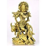 """Redbag - Lord Krishna Brass Statue - 3786 (4.50""""H X 2.75""""W X 1.75""""D )"""