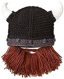 Kafeimali Men's Head Barbarian Vagabond Beanie Original Foldaway Beard Hats Skull Skull Caps Halloween hat (Brown)