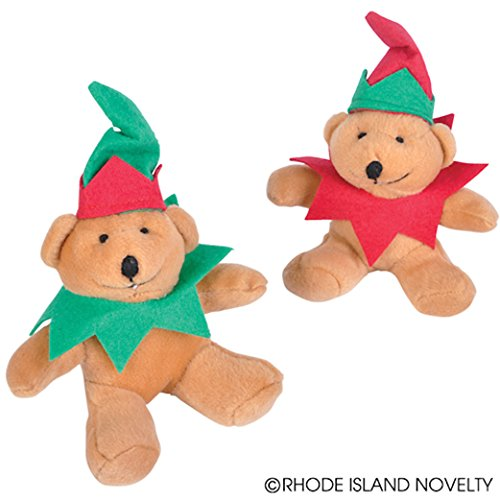 Dozen Assorted Color Christmas Elf Themed Plush Stuffed Mini Teddy Bears - 4