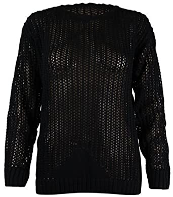 Womens New Long Sleeve Ladies Plain Mesh Net Knitted Crochet Round Scoop Neck Stretch Jumper Top Black Size 8-10