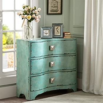 Madison Park Fulton Crackle Bombe Chest Blue See below