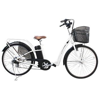 シマノ製6段変速機&シリコンバッテリー搭載!26インチ電動アシスト自転車452 ホワイト(SHIMANO製RevoShift搭載!電気自転車 ・アシスト自転車・電動自転車・ママチャリ)