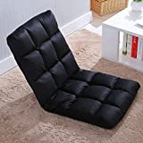 SelaniTM Adjustable Floor Chair Folding Couch Sofa Six-position Multiangle Lazy Man Chair Soft Cushion Foldable Tatami Foldable Recliner Lounge Chair Home Essential Sofa (Black)