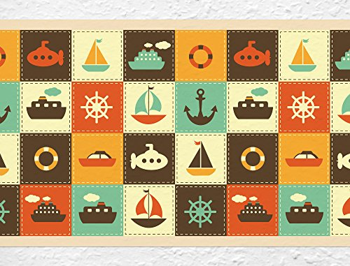 I-Love-de-pared-adhesivo-decorativo-para-habitacin-B-de-10031-cenefa-Barcos-Navegacin-Papel-pintado-infantil