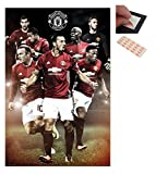 Bundle - 2 Items - Manchester United 2016 / 2017 Players Poster - 91.5 x 61cms (36 x 24 Inches) and a Set of 4 Repositionable Adhesive Pads For Easy Wall Fixing