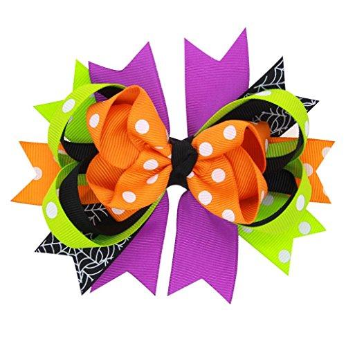 [Baby Halloween Headwear, Misaky Bowknot Hairpin Headdres (Orange)] (Doll Halloween Outfit)