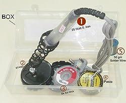 Shanu 5pc Soldering Kit Case Box 25Watt Iron + Solder 50g + Wick + Paste + Stand