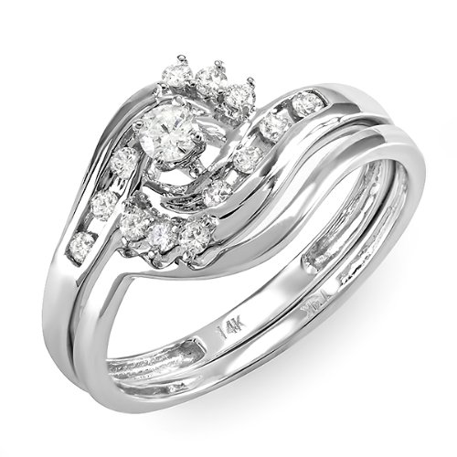 0.40 Carat (ctw) 14k White Gold Round Diamond Ladies Swirl Bridal Ring Engagement Matching Band Set