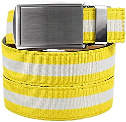 SlideBelts Women's Canvas Belts - Yellow/White with Silver Buckle (Trim-to-fit: Up to 48