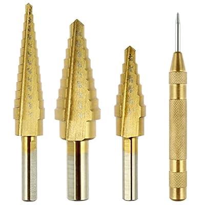 Vastar® Titanium Step Drill Bit Set, 3-Piece Set & Automatic Center Punch from Vastar