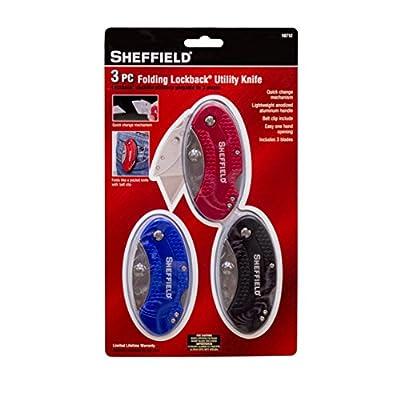 Sheffield 10712 Folding Lockback Utility Knife Set (3 Piece)