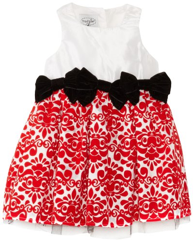 Mud Pie Baby-Girls Newborn Red Damask Dress, Multi, 0-6 Months front-573415
