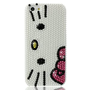Slim 3D Bling Crystal Hello Kitty iPhone Case for iPhone 5 (Package includes: soft pouch, screen protector, extra crystals)